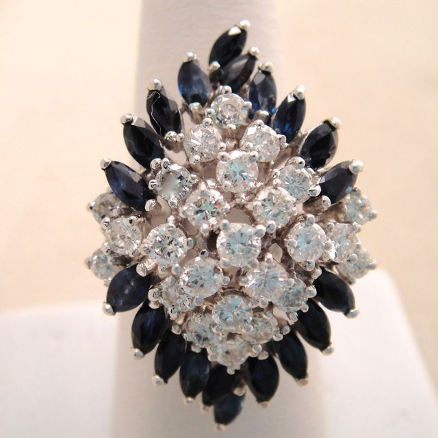 Huge Vintage 14 Karat White Gold Diamond Sapphire Cocktail Ring 2 Carats