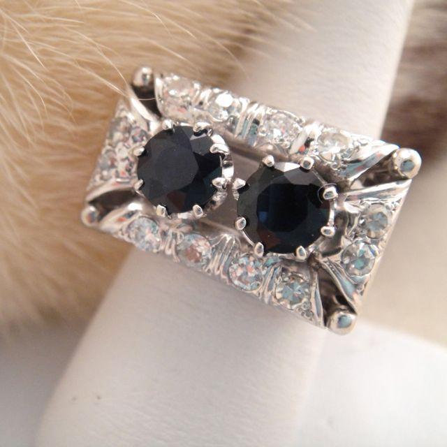 Retro 30's Diamond and Sapphire Ring 14K White Gold and Platinum