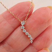 Estate Diamond Journey Pendant Necklace 10k Gold