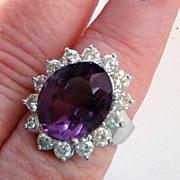 Dazzling Estate Amethyst Diamond 14k White Gold Ring