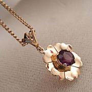 Vintage Art Deco 10k Gold Amethyst Flower Pendant
