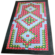 Antique Primitive Geometric Hooked Rug Carpet Mat
