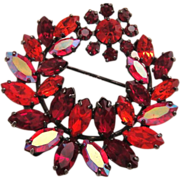 Vintage Sherman Rhinestone Brooch Red