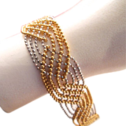 Estate 18k Mesh Yellow and White Gold Bracelet Diamond Accents