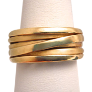 Estate 18k Yellow Gold Wrap Cross Over Layered Ring