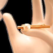 Mid Century Modern Pearl 14k Gold Brooch