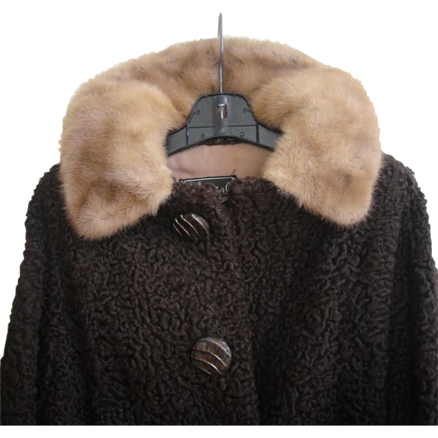 Stylish Persian Lamb Mink Fur Swing Coat Size S M  Excellent