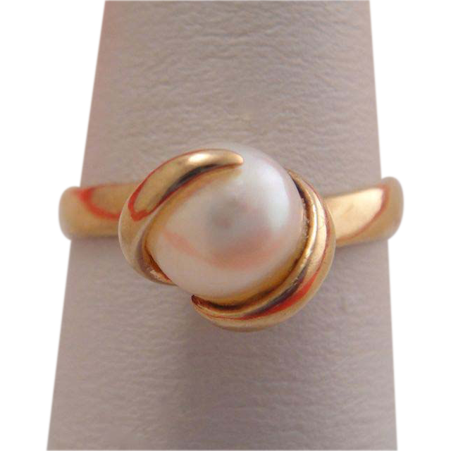 Vintage 9k 9c Gold Large Pearl Solitaire Ring