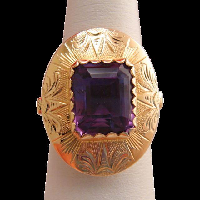 Antique 14k Gold Amethyst Engraved Ring