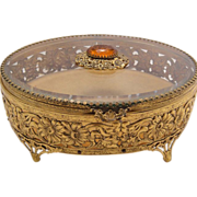 "Big 8"" Art Deco French Deep Beveled Glass Ormolu Jewelry Casket Box Case or Vitrine with Jewel"