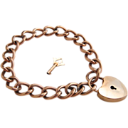Victorian Gold Filled Padlock Bracelet with Key