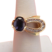 Estate Tanzanite Diamond Designer 14k Gold Ring