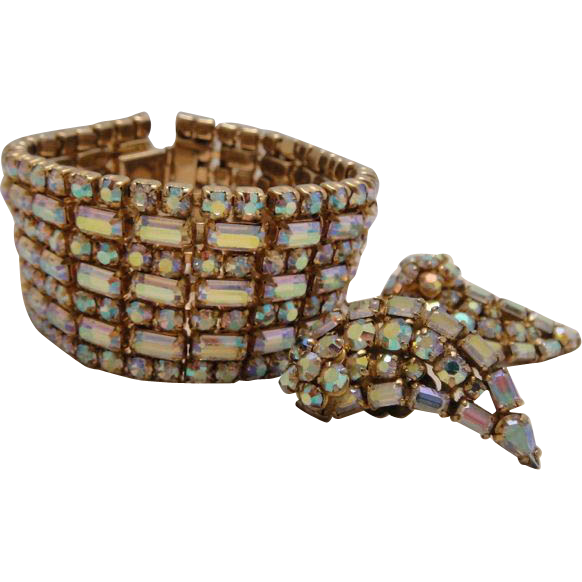 Sherman Wide Rhinestone Cuff Bracelet and Earrings