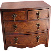 Miniature Antique Burled Walnut Bureau Chest circa 1850