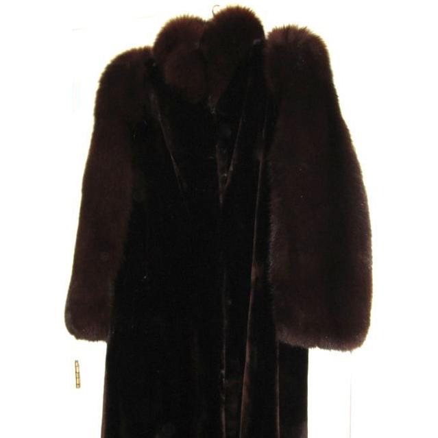 Estate Canadian Sheared Beaver Fox Fur Coat M L  Excellent