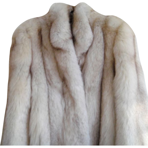 Estate  Full Length Real Silver Fox Fur Coat Size S M  Minty