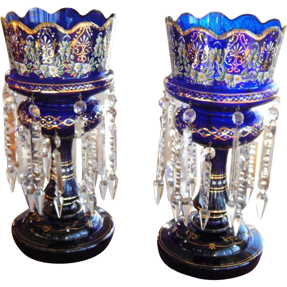 Pair of Bohemian 19th Century Cobalt Blue Enamel Glass Lustres