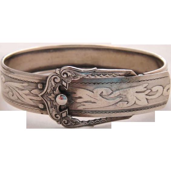 Antique Sterling Silver Engraved Buckle Bracelet c1910