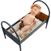 Antique All Bisque German Wrestler Girl Doll with Bed and Frozen Charlotte