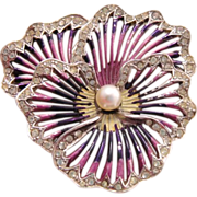 Boucher Pansy Rhinestone Brooch with Iridescent Enamel