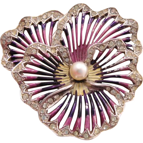 Boucher Pansy Rhinestone Brooch with Iridescent Enamel