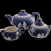 Wedgwood Jasperware Cobalt Blue Tea Set England