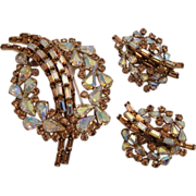 Sherman Citrine Root Beer Brooch and Earrings Rhinestone Set