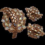 Sherman Citrine Root Beer Brooch and Earrings Rhinestone Set