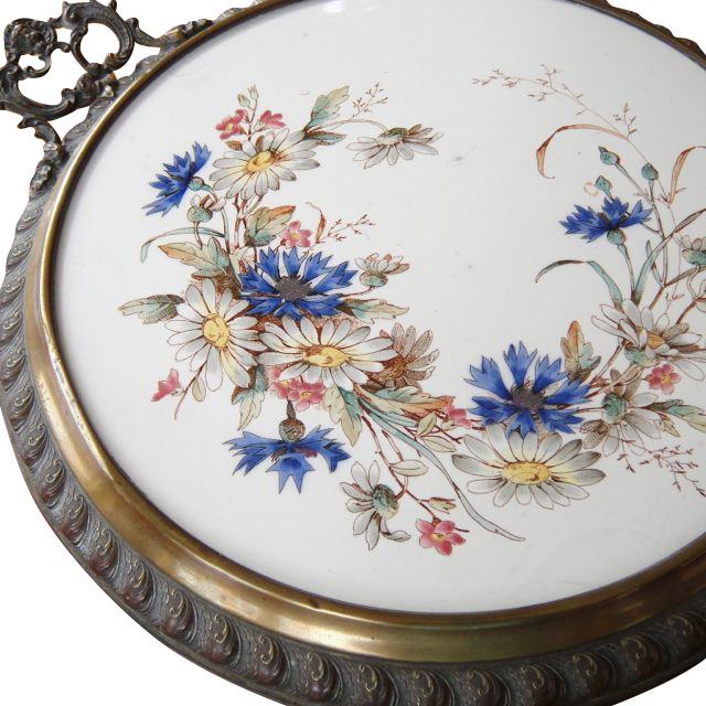 Antique Victorian Tile Table Center Piece Trivet Eastlake Frame