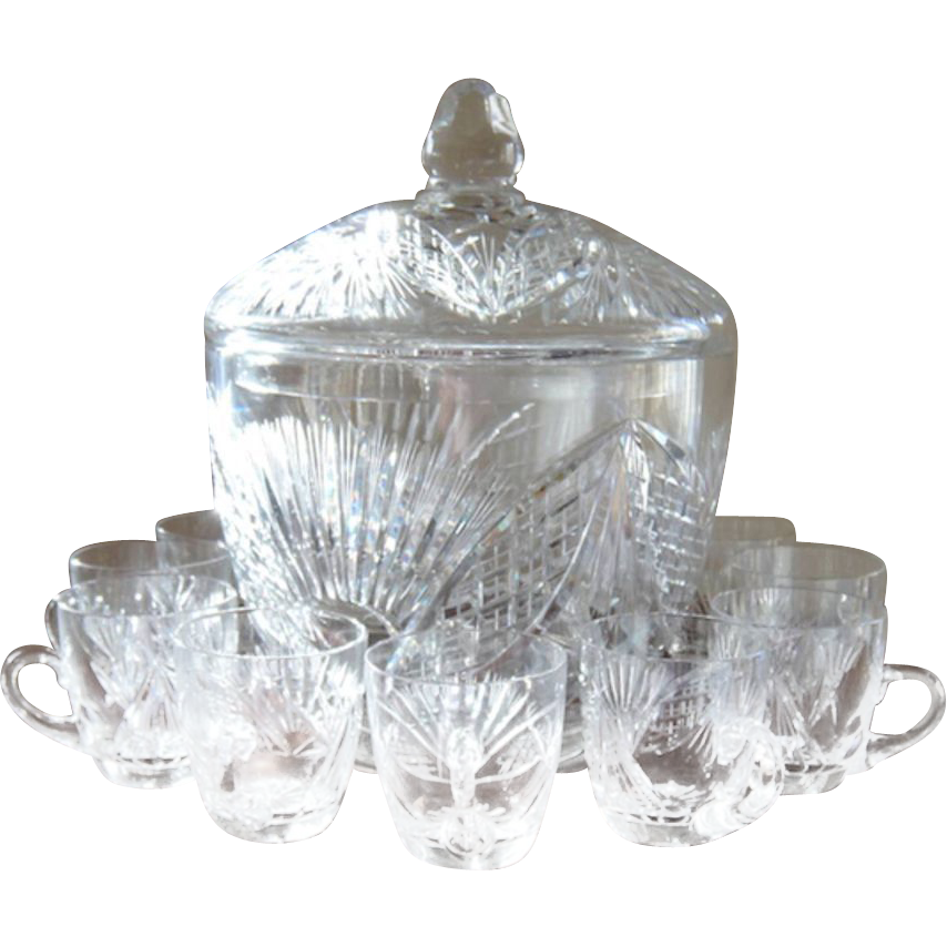 Estate Irish Crystal Punch Bowl with Cups and Ladle
