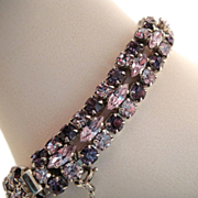 Sherman Purple Pale Blue Rhinestone Bracelet
