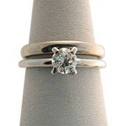 Estate 18k White Gold Solitaire Diamond Ring with 18k Band Set