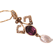 Edwardian Antique Amethyst Pearl 10k Gold Lavaliere