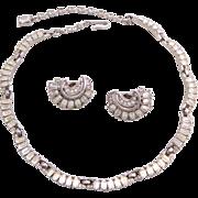 Vintage Trifari Baguette Rhinestone Necklace and Earrings