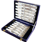 Antique Silver Sterling Fish Set  Fruit Knives & Forks with Mother Of Pearl Handles for 6 Original Box