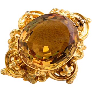 Heavy 14k Gold Georgian Citrine Brooch