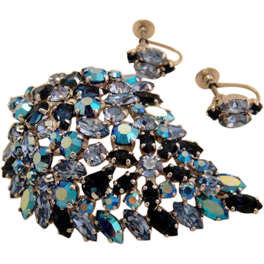 Vintage Sherman Rhinestone 3 Shades of Blue Large Leaf Brooch and Earrings