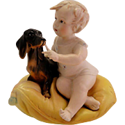 Antique German Bisque Piano Baby with Daschund