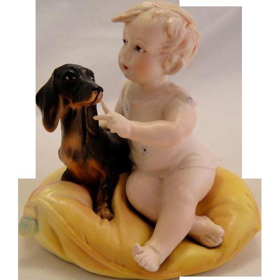Antique German Bisque Piano Baby with Daschund