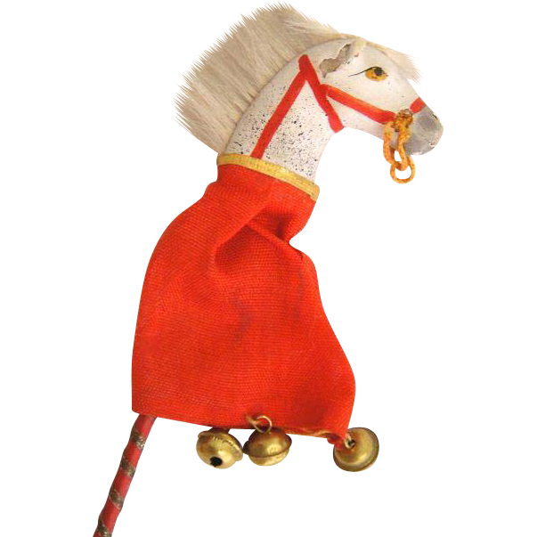 Rare Antique Doll Size Miniature Mache Hobby Horse Toy