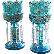 Pair of Bohemian 19th Century Cornflower Blue Enamel Glass Lustres