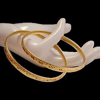 Estate 18k Gold Bangle Bracelet Pair