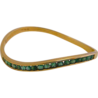 Estate 14k Yellow Gold Columbian Emerald Bangle Bracelet