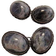 Antique Labradorite Sterling Silver Cufflinks