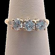 Art Deco 18K Gold One Carat Diamond Three Stone Trilogy Engagement Ring Band