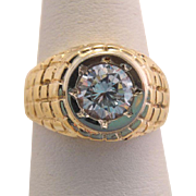 Estate Heavy 10k Gold Men's One Carat Zircon Ring