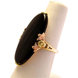 Art Deco 10K Rose Green Gold Onyx Flower Ring