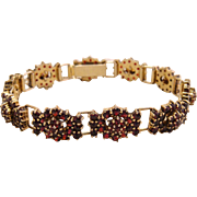 Antique Rose Cut Bohemian Garnet Bracelet 14k Gold Wash 900 Silver