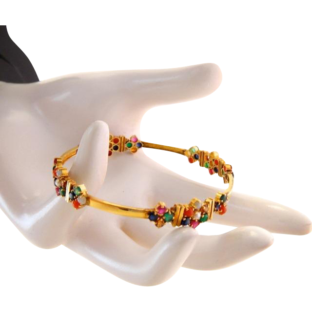 Vintage 22k 22kt Gem Gold Bangle Bracelet