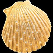 Vintage Hobe Gold Clam Shell Rhinestone Brooch